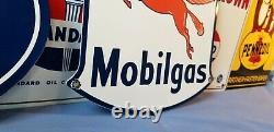 Vintage Mobil Gasoline Porcelain Gas Service Station Pump Mobiloil Pegasus Sign