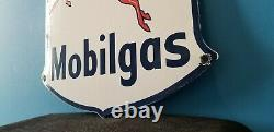 Vintage Mobil Gasoline Porcelain Gas Service Station Pump Pegasus Motor Oil Sign
