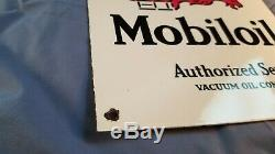 Vintage Mobil Gasoline Porcelain Gas Service Station Pump Plate Gargoyle Ad Sign