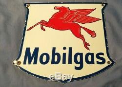 Vintage Mobil Gasoline Porcelain Gas Service Station Pump Plate Pegasus Ad Sign