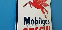 Vintage Mobil Gasoline Porcelain Gas Service Station Shield Pegasus Sign