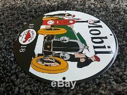 Vintage Mobil Gasoline Porcelain Sign Gas Oil Service Station Pump Plate Pegasus