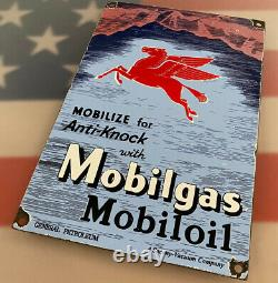 Vintage Mobil Gasoline Porcelain Sign Gas Station Pump Plate Motor Oil Service