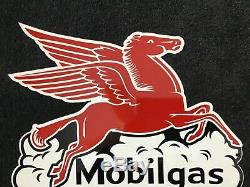 Vintage Mobilgas Metal Sign Gas Oil Service Station Pump Plate Rare Pegasus