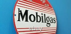 Vintage Mobilgas Porcelain Vacuum Oil Co Gas Service Station Pump Plate Sign