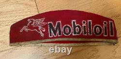 Vintage Mobiloil Red Service Station Hat Cap Advertising Gas Mobil Oil Pegasus