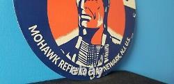 Vintage Mohawk Gasoline Porcelain Gas Motor Oil Service Station Pump Plate Sign