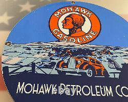 Vintage Mohawk Gasoline Porcelain Sign Gas Station Pump Plate Motor Oil Service