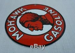 Vintage Mohawk Porcelain Sign Gas Motor Oil Metal Service Station Gasoline Rare