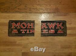 Vintage Mohawk Tires Gas Oil Service Station 33 Metal Tire Sign Cut