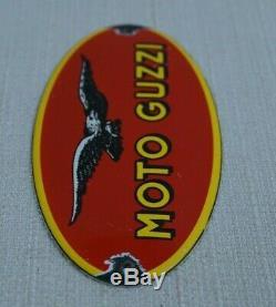 Vintage Moto Guzzi Motorcycles Porcelain Sign Gas Oil Metal Service Station Rare