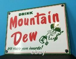 Vintage Mountain Dew Porcelain Gas Soda Beverage Bottles Service Station Sign