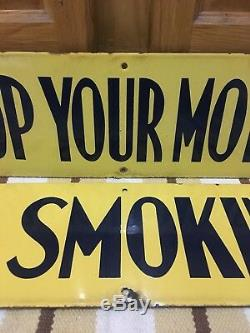 Vintage No Smoking Stop Your Motor Richfield Porcelain Sign Service Station Gas