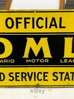 Vintage ONTARIO MOTOR LEAGUE ROAD SERVICE STATION Flange Sign Gas Oil PORCELAIN