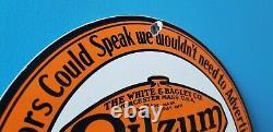 Vintage Oilzum Gasoline Porcelain Gas Oil Service Station Pump Plate Ad Sign