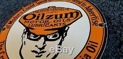 Vintage Oilzum Gasoline Porcelain Sign Gas Metal Service Station Pump Plate Ad