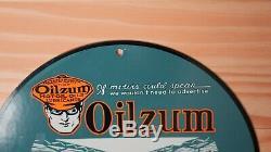 Vintage Oilzum Motor Oil Porcelain Sign 12 Gas Service Station Pump Plate Rare