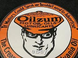 Vintage Oilzum Porcelain Sign Gas Oil Service Station Gasoline Pump Plate Rare