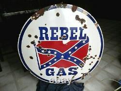 Vintage Original Rebel Gas Porcelain Service Station Sign 39 Rare