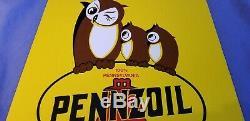 Vintage Pennzoil Gasoline Porcelain Gas Oil Lube Service Station Pump Plate Sign