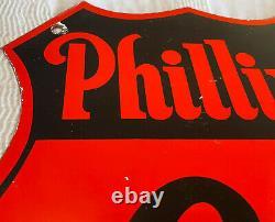 Vintage Phillips 66 Gasoline Porcelain Sign Gas Station Motor Oil Service Badge