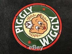 Vintage Piggly Wiggly Porcelain Sign Gas Oil Service Station Pump Plate Rare
