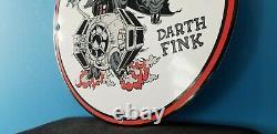 Vintage Rat Fink Porcelain Gas Service Station Pump Plate Automotive Garage Sign