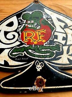Vintage Rat Fink Porcelain Metal Sign Gas Oil Pump Plate Hot Rod Service Station