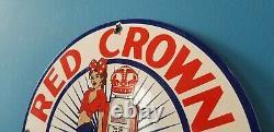 Vintage Red Crown Gasoline Porcelain American Gas Oil Service Station Pump Sign