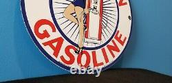 Vintage Red Crown Gasoline Porcelain Gas Service Station Pin Up Girl Sign
