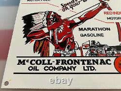 Vintage Red Indian Gasoline Porcelain Sign Gas Station Pump Plate Oil Service