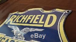 Vintage Richfield Gasoline Porcelain Gas Oil Service Station Pump Plate Sign