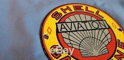 Vintage Shell Gasoline Porcelain Gas Aviation Service Station Pump Plate Sign
