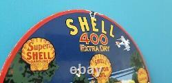 Vintage Shell Gasoline Porcelain Gas Oil Service 400 Extra Dry Station Pump Sign