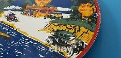 Vintage Shell Gasoline Porcelain Gas Oil Service Massachusetts Station Pump Sign