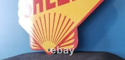 Vintage Shell Gasoline Porcelain Gas Oil Service Station 14 Pump Plate Sign