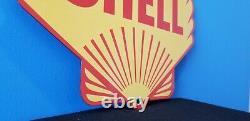 Vintage Shell Gasoline Porcelain Gas Oil Service Station Large Pump Plate Sign