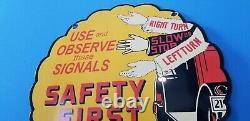 Vintage Shell Gasoline Porcelain Gas Oil Service Station Safety First Pump Sign
