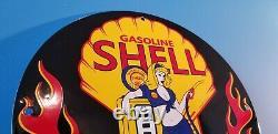 Vintage Shell Gasoline Porcelain Gas Service Station Pin Up Girl Flames Sign