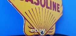 Vintage Shell Gasoline Porcelain Gas Service Station Pump Metal Ad Sign