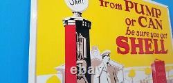 Vintage Shell Gasoline Porcelain Gas Service Station Pump Plate Can Oil Sign