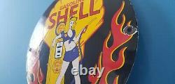 Vintage Shell Gasoline Porcelain Gas Service Station Shell Clam & Flames Sign