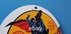 Vintage Shell Gasoline Porcelain Gas Zorro Service Station Pump Plate Sign