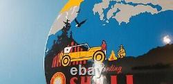 Vintage Shell Gasoline Porcelain National Park Gas Oil Service Station Sign