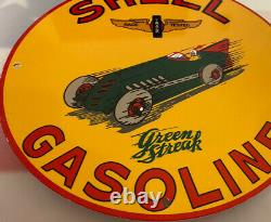 Vintage Shell Gasoline Porcelain Sign Gas Station Pump Plate Motor Oil Service