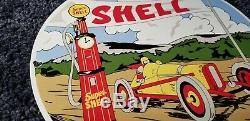Vintage Shell Gasoline Porcelain Super Gas Service Station Racing Pump Sign
