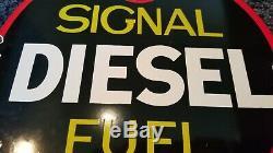 Vintage Signal Gasoline Porcelain Metal Gas Motor Oil Service Station Pump Sign
