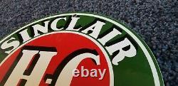 Vintage Sinclair Porcelain Gasoline Gas Hc Oil Service Station Pump Plate Sign
