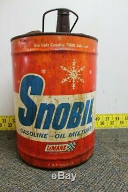 Vintage Snobil LeMans Gas Oil Mixture 6 Gallon Can Man Cave / Service Station