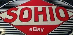 Vintage Sohio Porcelain Standard Gas Oil Service Station Pump Plate Metal Sign